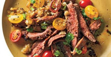 Grilled Skirt Steak & Roasted Tomatillo Sauce